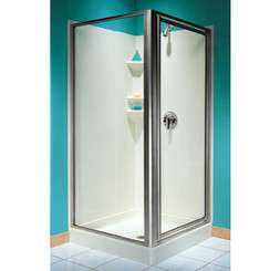 Swanstone SD-DTF-C Double Threshold Shower Door Kit, Chrome - Clear Glass