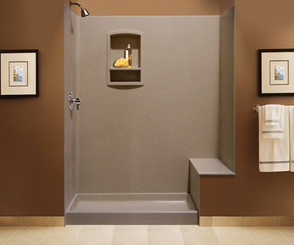 "Swanstone BK-326072 Tub Replacement Shower Kit with Bench Seat 32"" x 60"" x 72"" - Solid Color"