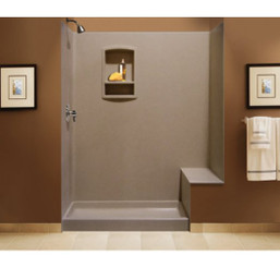 "Swanstone BK-326072 Tub Replacement Shower Kit with Bench Seat 32"" x 60"" x 72"" - Aggregate  Color"