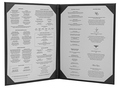 "Menu Cover in Black Faux Leather  2-Panels for 5.5"" x 8.5"" Menu Sheets (inside shown)"