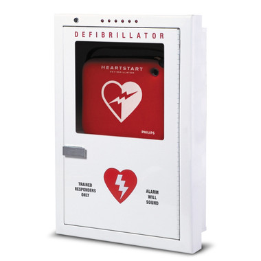 Philips Premium Semi-Recessed AED Wall Cabinet with alarm