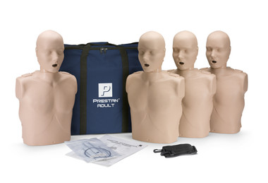 Prestan Adult CPR Manikin 4-Pack with CPR Monitor with Medium Skin - Lightweight