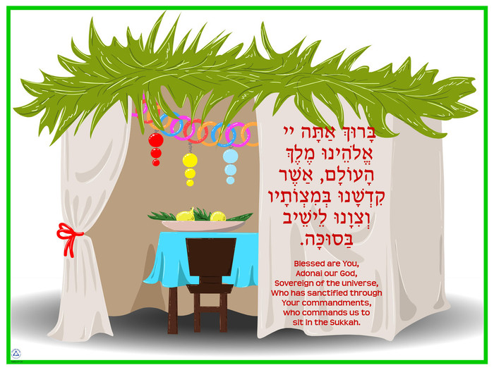 Sitting in Sukkah Blessing Poster