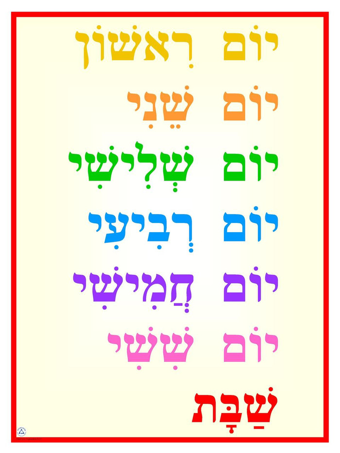 Days of the Week Poster (Hebrew)