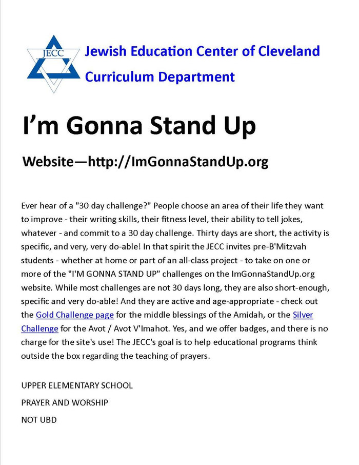 I'm Gonna Stand Up! Take the Challenge (Upper Elementary)
