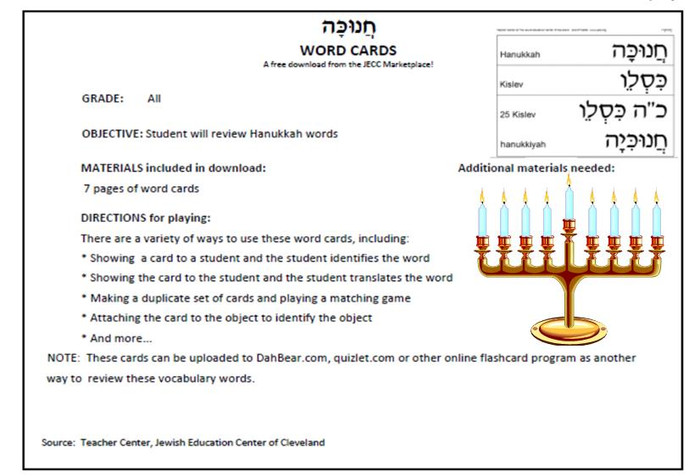 Hanukkah Word Cards