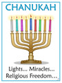 Hanukkah - Lights, Miracles, Religious Freedom Poster  (P-7)