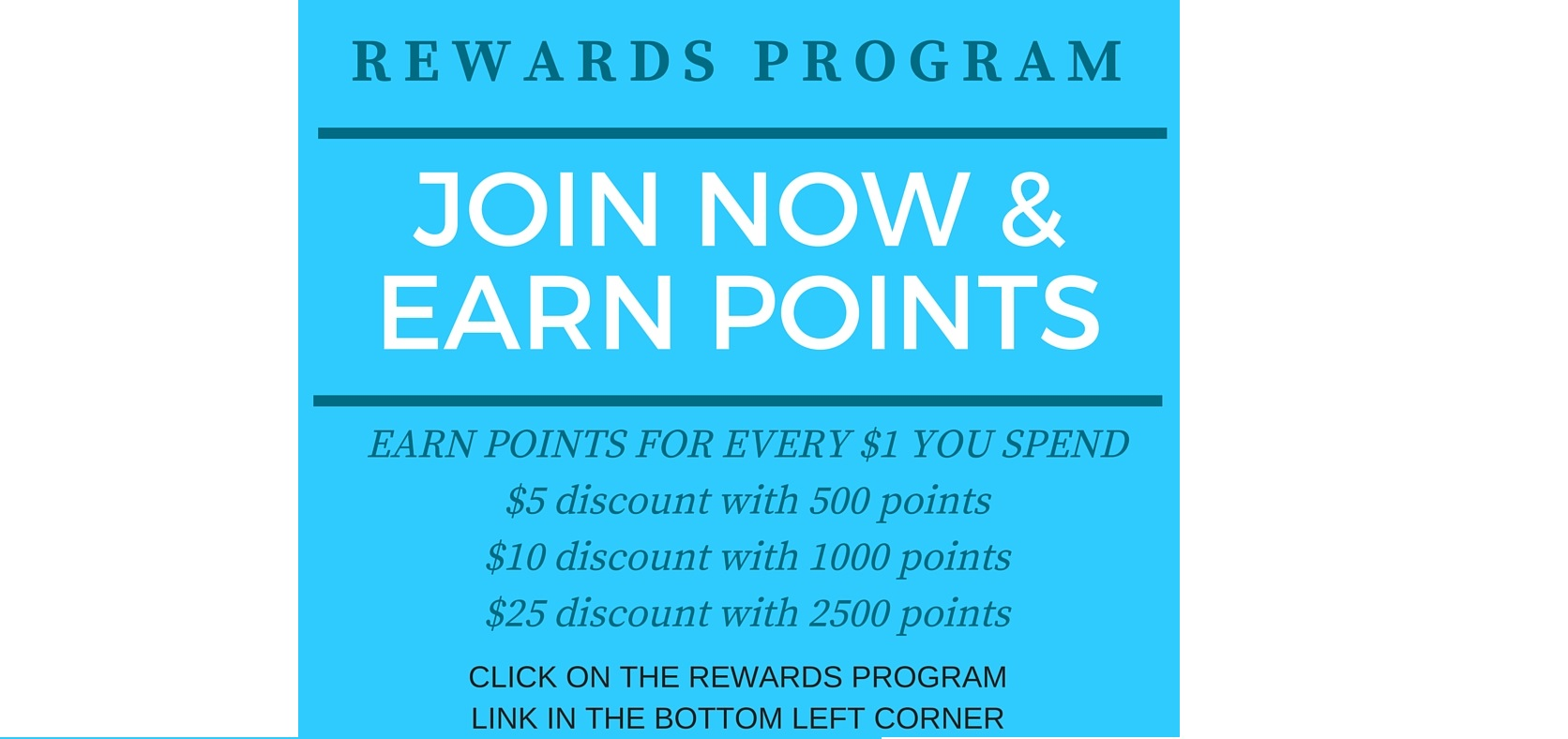 join and earn points in Amy's bubbling boutique rewards program
