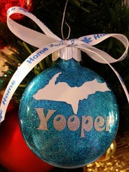 Yooper Glitter Christmas Ornament Michigan