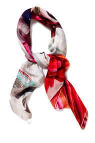 [Sample] Tomorrow is today, Red printed scarf