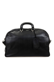 [Sample] Sodling, black leather duffle bag