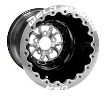 "Weld Racing V-Series Lite DBL, 16"" x 16"", 5 x 4.75"", 4"" BS, Black Shell, Polished Center/Ring"