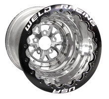 "Weld Racing V-Series Lite DBL, 16"" x 16"", 5 x 5"", 5"" BS, Polished Shell/Center, Black Ring"