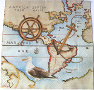 Paper Collage Napkin: Nautical Map