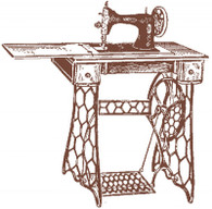 Sewing Machine self cling red rubber stamp.