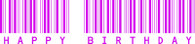 Birthday Barcode Self cling red rubber stamp.