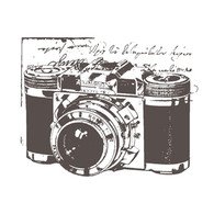 Traditional Camera Self cling red rubber stamp.