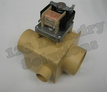 "* Girbau Front Load Washer Drain Valve 220V 3"" WOF SHOR w/ Overflow 163212"