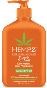 Hempz Yuzu & Starfruit with Broad Spectrum SPF 30 Daily Herbal Body Moisturizer