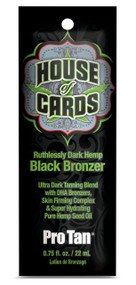 Pro Tan House of Cards Ruthlessly Dark Hemp Black Bronzer Tanning Lotion Sample Packet