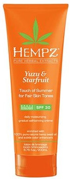 Hempz Yuzu & Starfruit Touch of Summer for Fair Skin Tones Spf 30 Daily Moisturizing Gradual Self-Tanning Creme