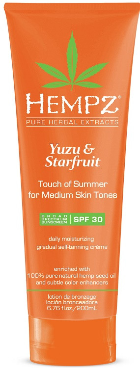 Hempz Yuzu & Starfruit Touch of Summer for Medium Skin Tones Spf 30 Gradual Self-Tanning Creme