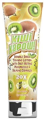 Kiwi Kapow! by Fiesta Sun 20X Double Dark Tanning Lotion with Fast Acting Maximizers and Firming Complex