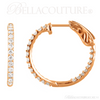 (NEW) BELLA COUTURE FLORA Collection Gorgeous Fine Brilliant 3/4CT Pave' Diamond Inside/Out 14K Rose Gold Hoop Lever Back  Earrings