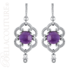 (NEW) BELLA COUTURE ETRUSCAN COLLECTION Fine Elegant Amethyst Diamond Sterling Silver Dangle Drop Post Earrings