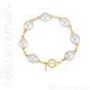 (NEW) BELLA COUTURE ETRUSCAN COLLECTION Fine White South Sea Pearl 11.5MM 14K Solid Yellow Gold Chain Toggle Dangle Drop Accent Bracelet