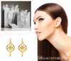 (NEW) BELLA COUTURE ETRUSCAN COLLECTION Fine Elegant 14K Yellow Gold Dangle Drop Earrings