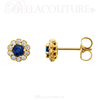 (NEW) BELLA COUTURE® BEVERLY GENUINE SAPPHIRE 14K YELLOW GOLD ROUND GEMSTONE 1/6 CTW DIAMOND HALO EARRINGS (1/6 CT. TW.)