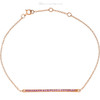 "(NEW) BELLA COUTURE ZOE Pave' Pink Sapphire 14K Yellow Gold Bar Bracelet with Chain ~ Adjustable 8"", 7.5"", 7"""