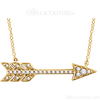 """(NEW) Bella Couture CARA Gorgeous Brilliant Round 1/10CT Diamond 14k Yellow Gold Fancy Arrow Pendant Necklace (Adjustable 18"""", 17"""", 16"""" Inches in Length)"""