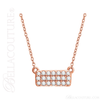"(NEW) Bella Couture CARA Gorgeous Brilliant 1/6CT Diamond 14k Rose Gold Fancy Rectangle Pendant Necklace (18"" Inches in Length)"