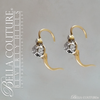 SOLD! - (ANTIQUE) Rare Victorian French Rose Cut Diamond 18K 18CT Yellow & White Gold Floral Flower Drop Earrings c. 1838