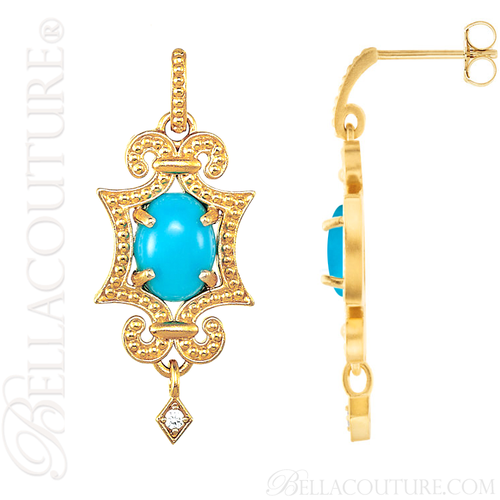 (NEW) BELLA COUTURE ETRUSCAN COLLECTION FINE DIAMOND TURQUOISE 14K YELLOW GOLD EARRINGS