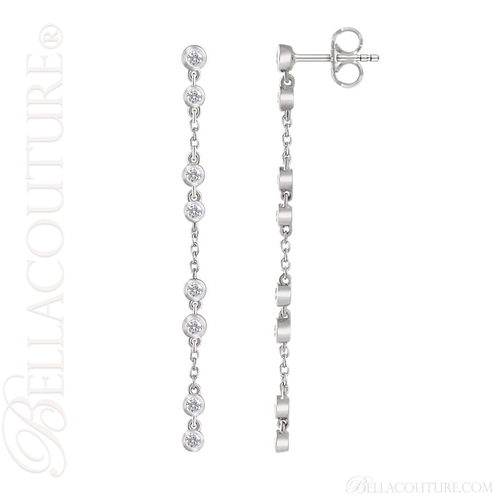 (NEW) BELLA COUTURE® WAVERLY Diamond 14K White Gold Chain Dangle Drop Chandelier Earrings