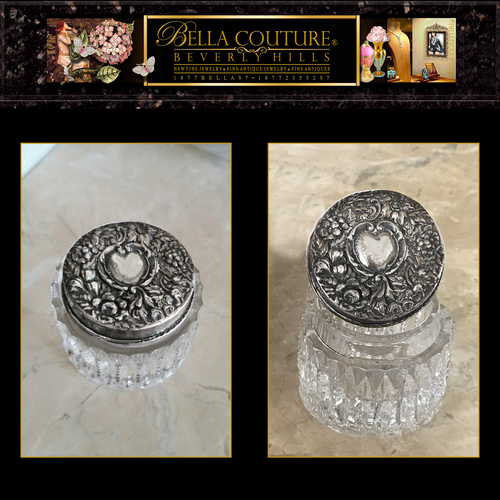 SOLD! - (ANTIQUE) RARE VICTORIAN EMBOSSED HEART ROSES FLOWERS GARLAND STERLING SILVER ETCHED CRYSTAL / GLASS REPOUSSE VANITY JAR