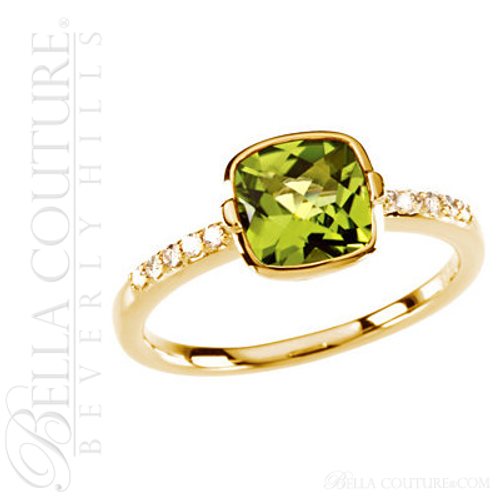 (NEW) BELLA COUTURE ® Ingénue 14K Yellow Gold Genuine Cushion Cut Peridot 1/10 CT TW Diamond Ring