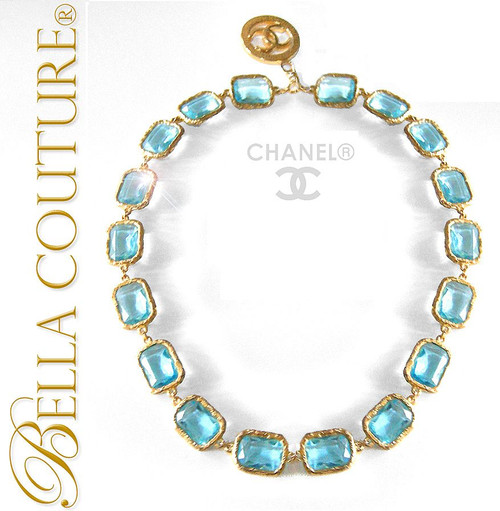 SOLD! - (VINTAGE) AUTHENTIC Haute Couture CHANEL Paris Faceted Aquamarine Blue Cushion Cut Crystal Adjustable Length Detachable CC Pendant Enhancer Charm Collier Necklace