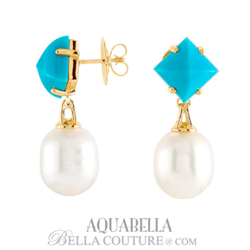 SOLD OUT! - NEW BELLA COUTURE AQUABELLA South Sea Pearl & Turquoise 18K Gold Earrings