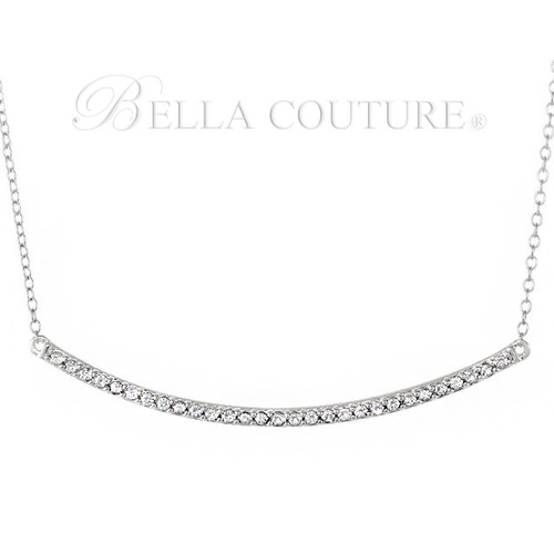 """(NEW) BELLA COUTURE ZOE Pave' Diamond 14K White Gold Bar Necklace with Chain ~ 18"""""""