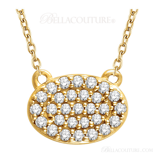 "(NEW) Bella Couture CARA Gorgeous Brilliant Round 1/5CT Diamond 14k Yellow Gold Oval Pendant Necklace (18"" Inches in Length)"
