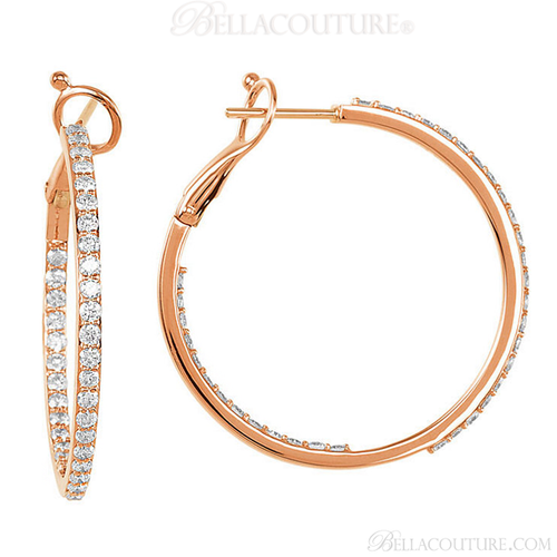 (NEW) BELLA COUTURE BETHANY Gorgeous Brilliant 1.5CT Pave' Diamond Inside/Out 14K Rose Gold Hoop Earrings