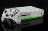 Microsoft Xbox One S White Graffiti and Green Carbon Fiber Skin by PhantomSkinz