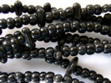 Old Maya Black Glass Beads - 16 foot long strand (GUA355)