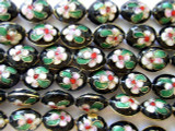 Cloisonne Beads - Black Oval 15mm (CS214)