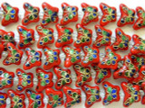 Cloisonne Beads - Red Butterfly 15mm (CS218)