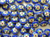 Cloisonne Beads - Cobalt Blue Coin 15mm (CS220)